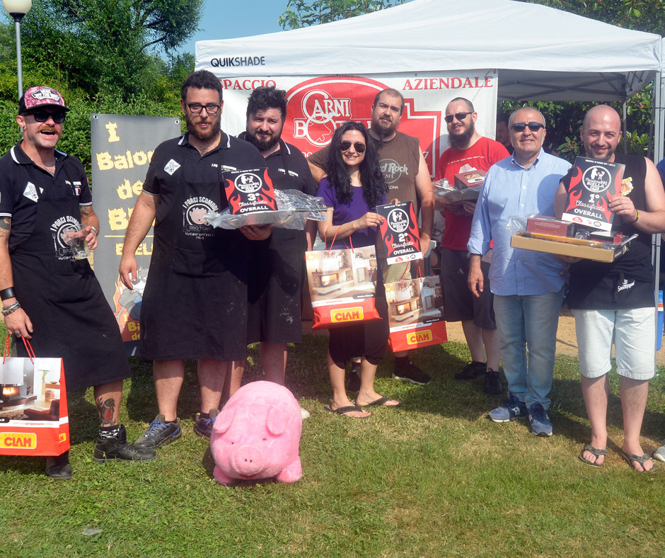Overall: 1º posto: Hollywood Barbecue BBQ Team, 2º posto: BarbeQ BBQ Teame 3º posto: I Porci Scomodi BBQ Team
